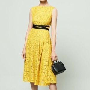 CAROLINA HERRERA Sunshine Yellow Lace Midi Dress